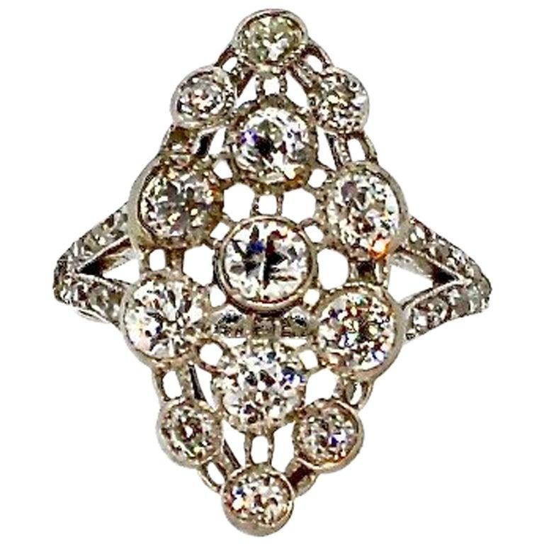 Antique Edwardian Platinum Diamond Navette Shaped Ring