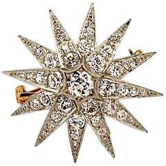 Antique Edwardian Platinum Topped Gold Diamond Starburst Brooch Pendant