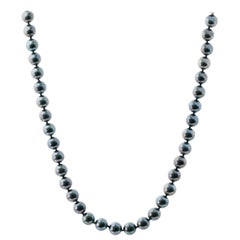 1990s Tahitian South Sea Black Pearl Necklace