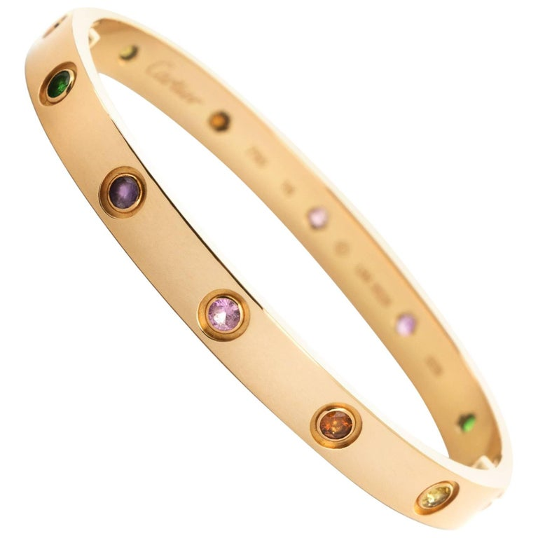Cartier Rose Gold Love Bracelet Multi Color Rainbow Bangle For
