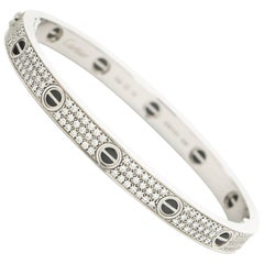 Cartier White Gold Pave Diamond Love Bracelet