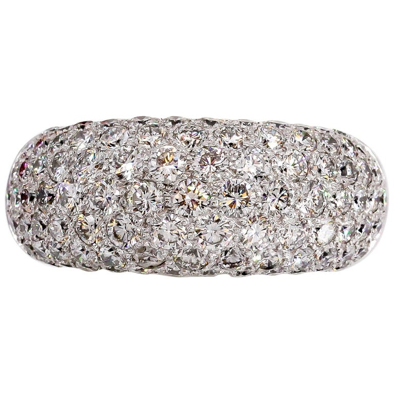 French Diamond and White Gold Dome Ring