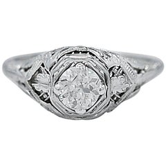 Antique .51 Carat Diamond Engagement Ring 18 Karat White Gold