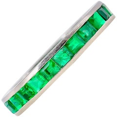 Emerald and White Gold Band
