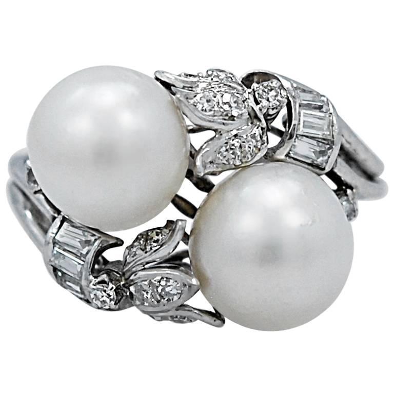 50 carat total weight pearl platinum fashion ring