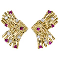 Tiffany & Co. Schlumberger Ruby, Diamond and Gold V Rope Earrings