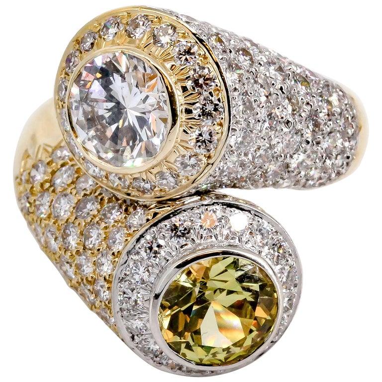 David Webb Sapphire Diamond Platinum Gold Contraire Ring