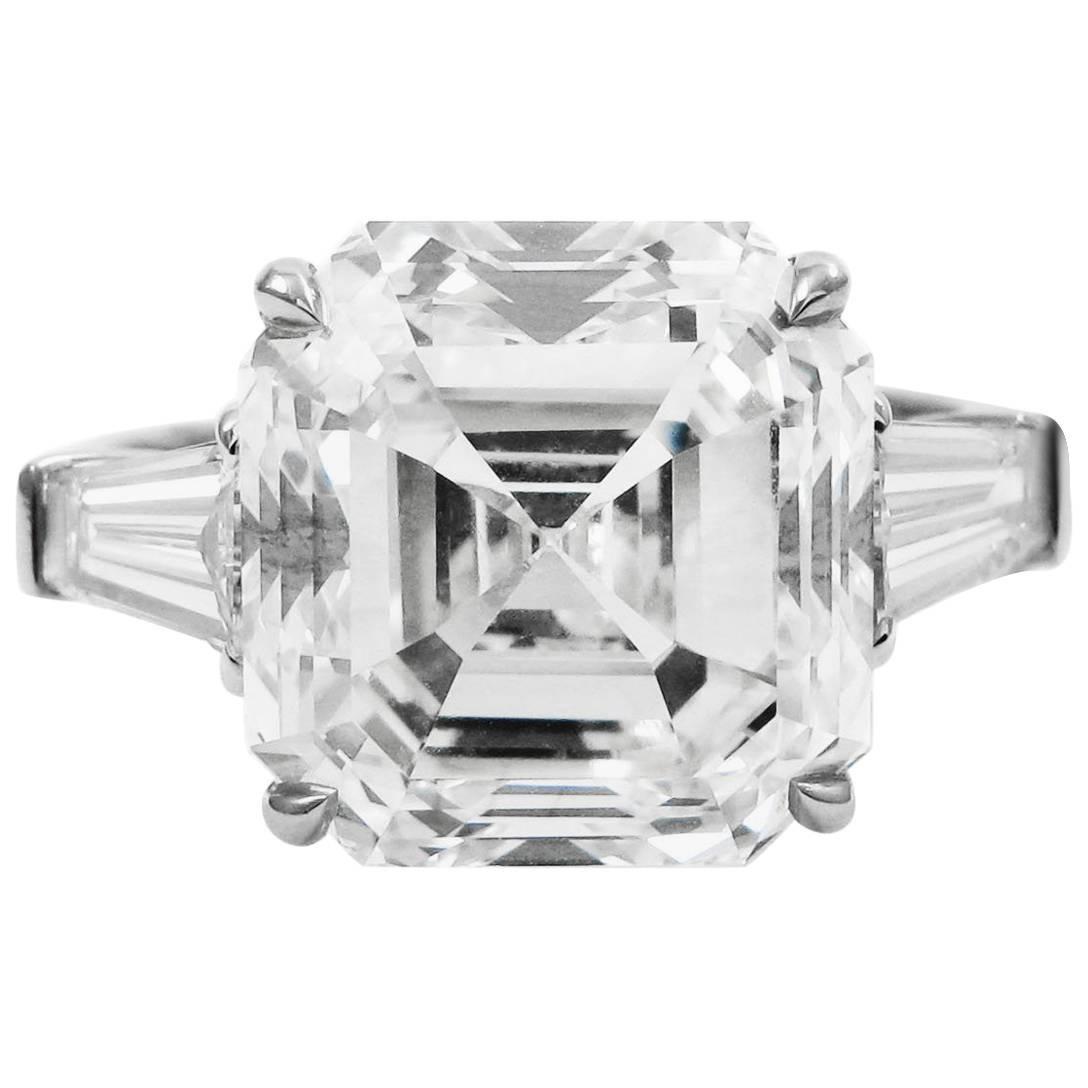 GIA Certified 7.00 Carat Asscher Cut Diamond Platinum Classic J. Birnbach Ring