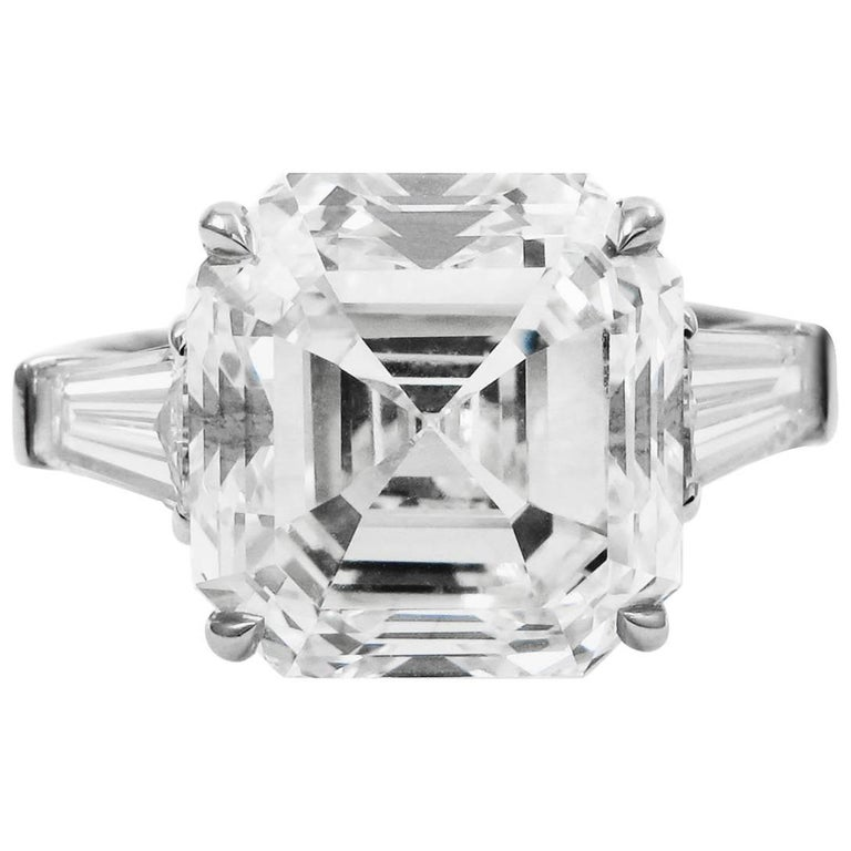 GIA Certified 7.00 Carat Asscher Cut Diamond Platinum Classic J. Birnbach Ring For Sale