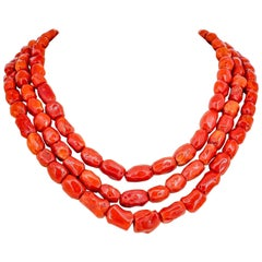 Victorian Mediterranean Coral and Gold Triple Strand Necklace