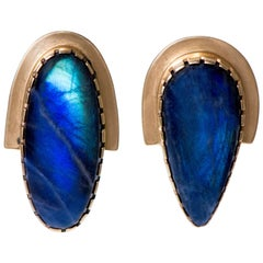 Gail Bird and Yazzie Johnson Gold and Labradorite Earrings