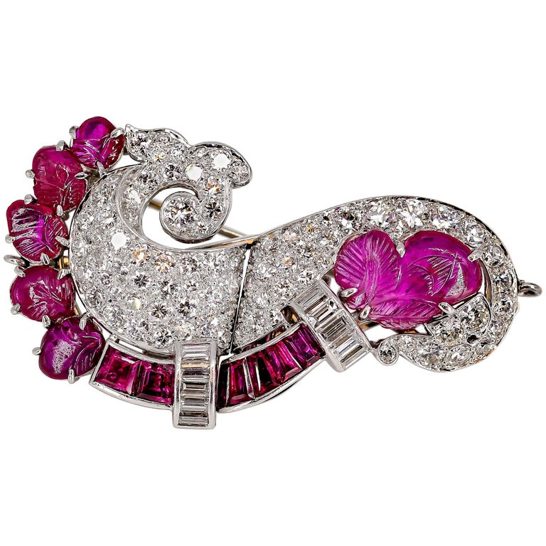 Art Deco Ruby, Diamond and Platinum Double Clip Brooch
