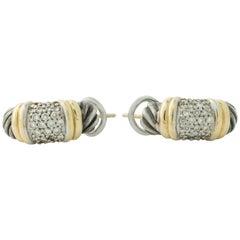 David Yurman Sterling Silver, 18K Gold with Diamonds Hoop Earrings