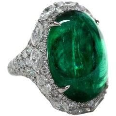 21.49 Carat Oval Cabochon Emerald Diamond Ring