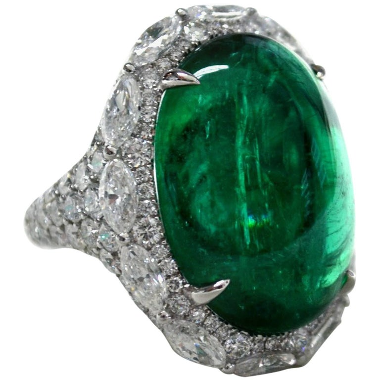 21 49 Carat Oval Cabochon Emerald Diamond Ring For Sale At