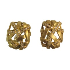 18 Karat Yellow Gold and Diamond Lattice Design Ear Clips