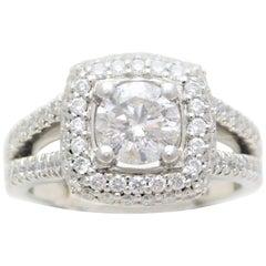 Round Brilliant Diamond Platinum Engagement Ring with Double Diamond Halo