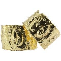 Rare Van Cleef & Arpels Gold Jackie-O Manchette Cuff Bracelets, Pair, circa 1970