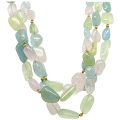 Katy Briscoe Tumbled Mulit Stone Necklace with Yellow Gold Chinati Clasp