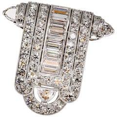 Tiffany & Co. Art Deco Diamond and Platinum Clip Brooch