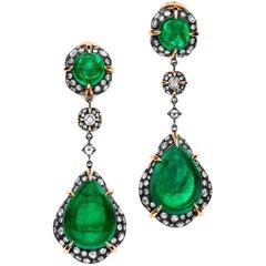 15.74 Carat Pear Cabochon Emerald Diamond 18 Karat Gold Drop Earrings