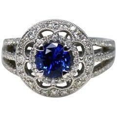 Round Ceylon Blue Sapphire Diamond 18 Karat Gold Solitaire Ring