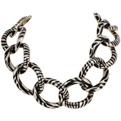 Angela Cummings Black Jade and White Gold Link Necklace