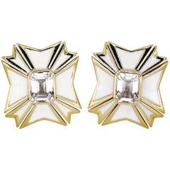 Verdura White Topaz Enamel Gold Maltese Cross Large Earrings