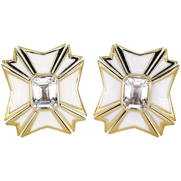 Verdura White Topaz Enamel Gold Maltese Cross Large Earrings