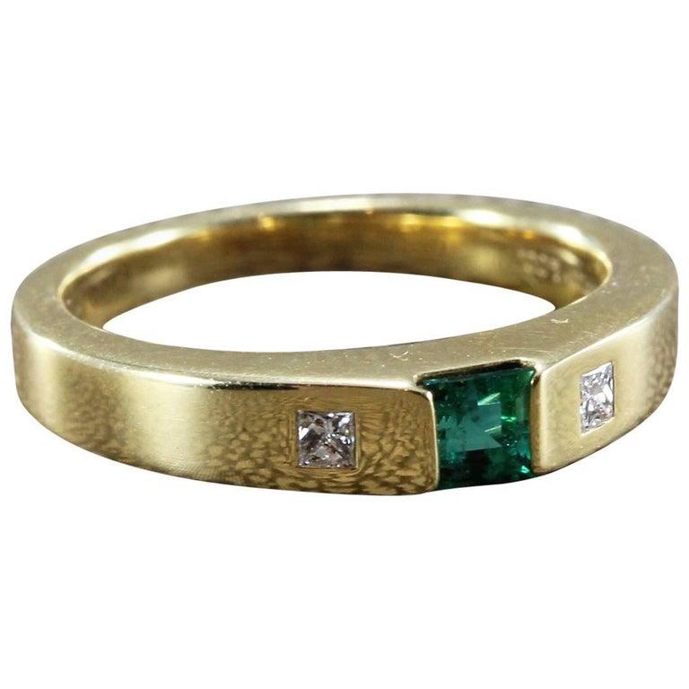 Tiffany & Co. Emerald Diamond Gold Band Ring