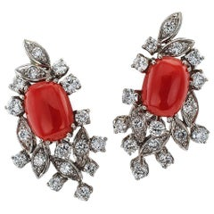 1960s Coral Diamond Gold Earrings
