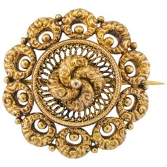 Antique 1870s Victorian Gold Brooch