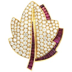 Van Cleef & Arpels Diamond Ruby Gold Leaf Brooch