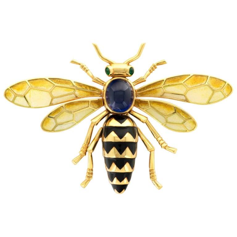 Cartier Paris Plique-a-Jour Enamel Gold Bee Brooch