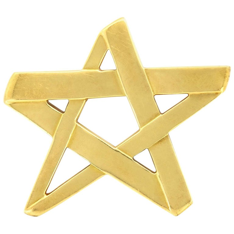 Tiffany & Co. Designed by Paloma Picasso Yellow Gold Star Brooch