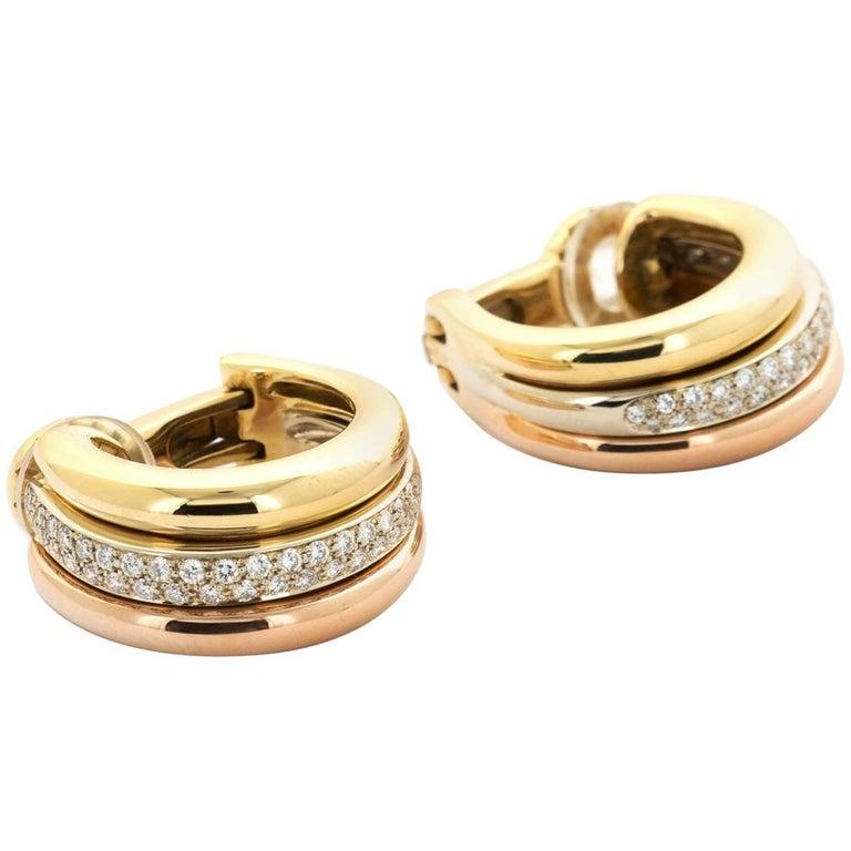 Cartier Tri-Color Gold Trinity Diamond Hoop Earrings