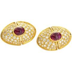 Harry Winston Diamond  Cabochon Ruby Gold Earrings