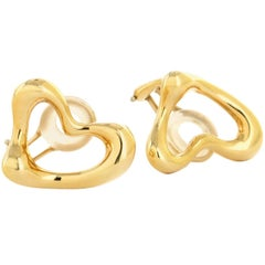 Tiffany & Co.  Designed by Elsa Peretti Yellow Gold Heart Earrings