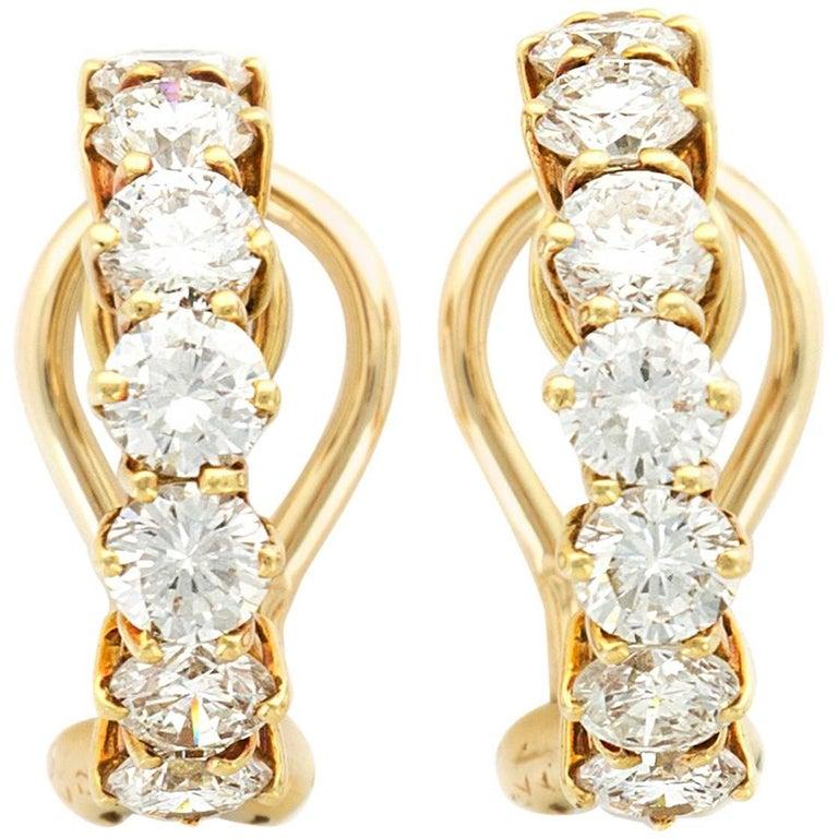Van Cleef & Arpels  Diamond Hoop Earrings
