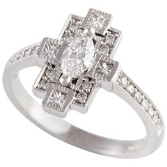 Kian Design Marquise Diamond Art Deco Style Ring