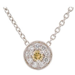 Kian Design 18 Carat White Gold, Round Brilliant Cut Cluster Diamond Necklace