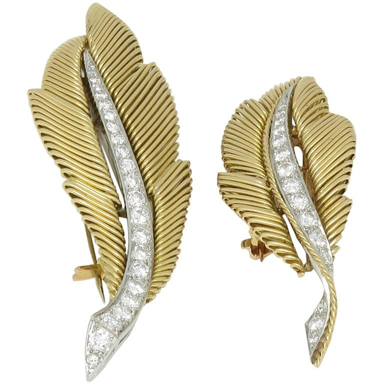 Van Cleef & Arpels Diamond Gold and Platinum Brooches For Sale