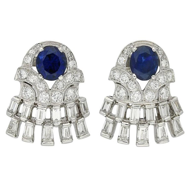 1960s Sapphire Diamond Earrings