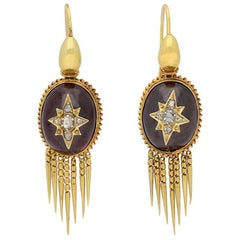 Antique Victorian Cabochon Garnet Diamond Gold Drop Earrings