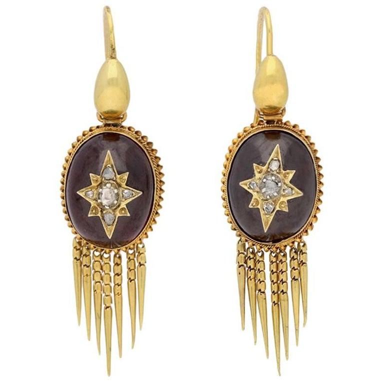 Antique Victorian Cabochon Garnet Diamond Gold Drop Earrings For Sale
