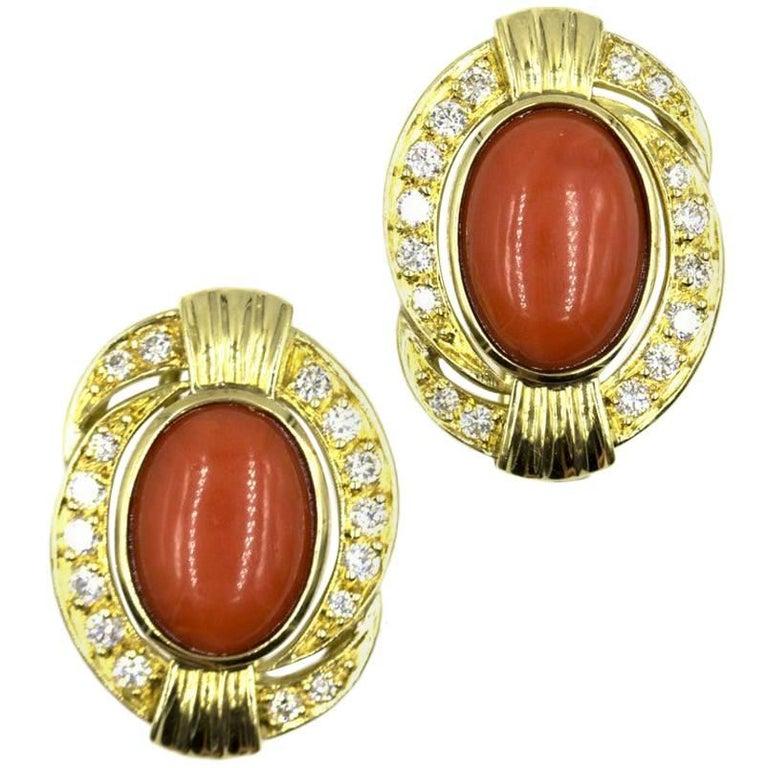 Diamond Coral 18 Karat Yellow Gold Earrings For Sale