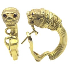 Greek 18 Karat Yellow Gold Panther Hoop Earrings