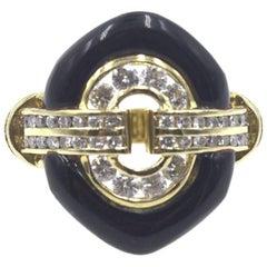 Diamond Onyx 18 Karat Yellow Gold Ring
