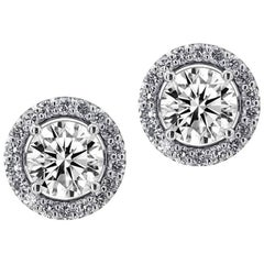Brilliant Cut Halo Stud Earrings