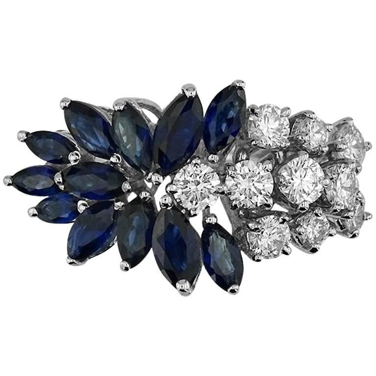White Gold Marquise Cut Sapphire and Brilliant Cut Diamond Ring